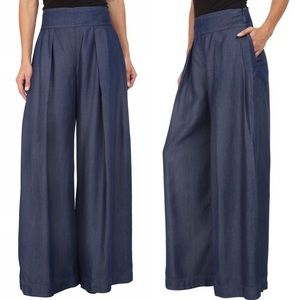 Nicole Miller Skyscraper Chambray Wide Leg Pants